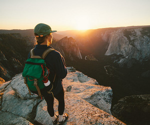 adventure, hiking, and sunset image