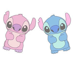 pink, blue, and stitch image