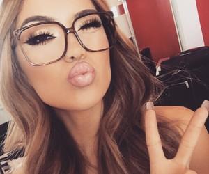 makeup, glasses, and lips image