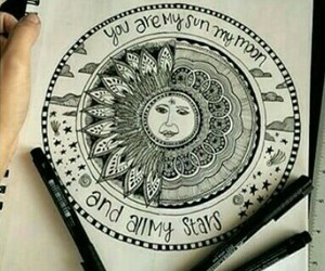 art, black, and mandala image