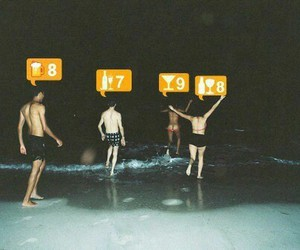 friends, beach, and night image