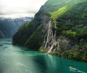 norway, nature, and waterfall image