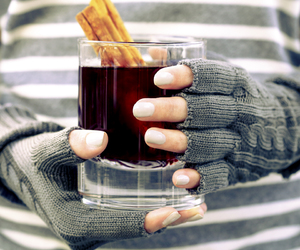 drink, fall, and gloves image