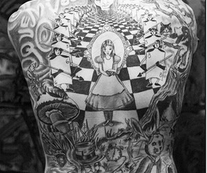 alice in wonderland, tattoo, and black and white image