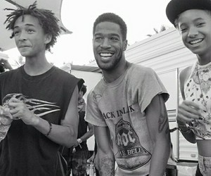 jaden smith, scott mescudi, and black and white image