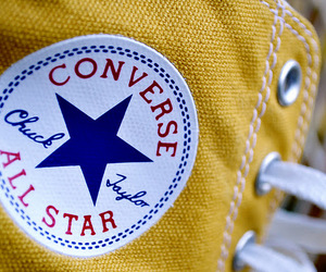 all star, yellow, and converse image