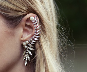 earrings, hair, and blonde image
