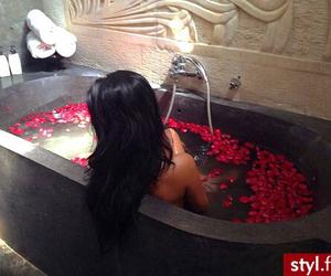 bath, hair, and rose image
