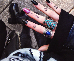 black nails, dots, and pale image