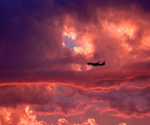 sky, clouds, and airplane image