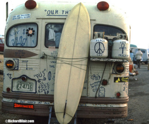 beach, bus, and hippie image