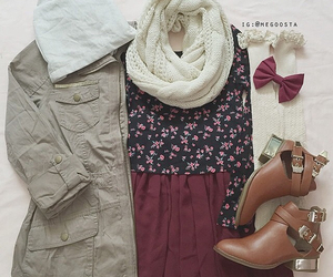 outfit, clothes, and scarf image