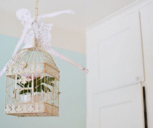 pastel, birdcage, and flowers image