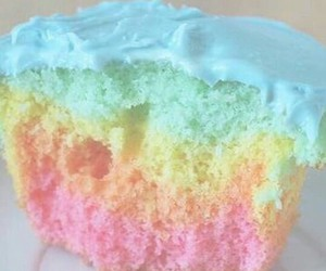 cupcake, rainbow, and pastel image