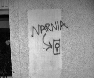 narnia, door, and black and white image