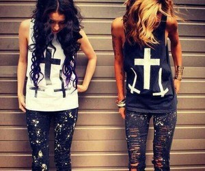 girl, cross, and friends image