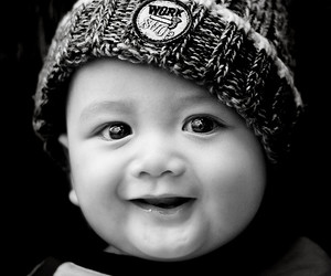 baby, big eyes, and black and white image
