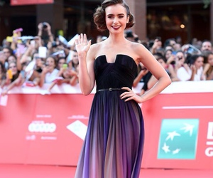 dress, lily collins, and black image
