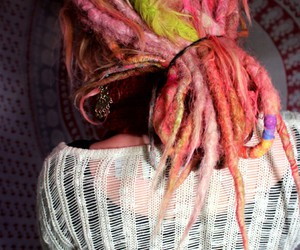 dreadlocks, dreads, and pink dreads image