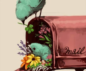 bird, flowers, and mail image