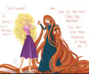 merida, rapunzel, and disney image