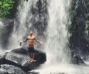 waterfall, boy, and andre hamann image