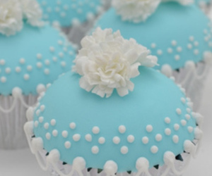 cupcake, blue, and dessert image