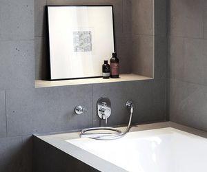 bathroom, black, and decor image