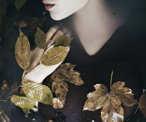girl, leaves, and fall image