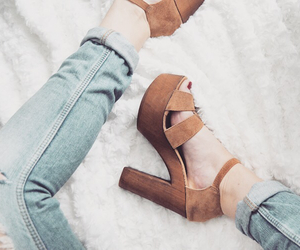boyfriend jeans, high-heels, and shoes image