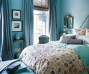 bedroom, bed, and blue image