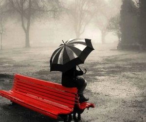 red, umbrella, and alone image