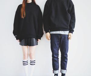 couple, korean fashion, and long socks image
