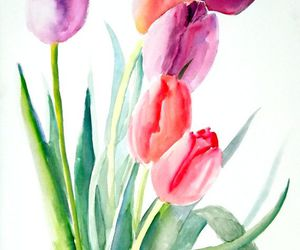 art, tulips, and watercolor image