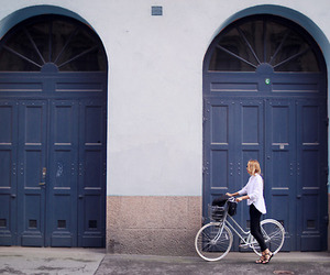 girl, door, and bike image