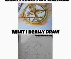 the hunger games, mockingjay, and drawing image