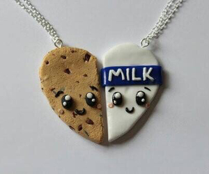 cookie, sweets, and milk image