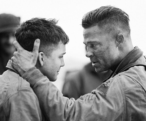 brad pitt, fury, and logan lerman image