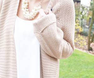 cardigan, fashion, and necklace image