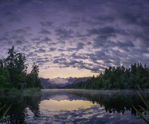 clouds, dawn, and lake image