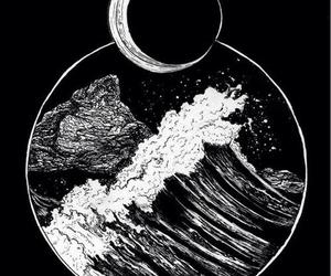 moon, art, and sea image