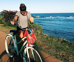beach, girl, and bicycle image