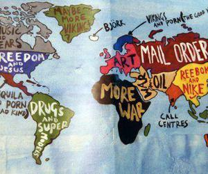 world, map, and funny image