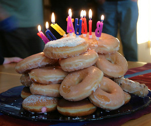 birthday, donuts, and doughnuts image