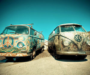 peace, hippie, and car image