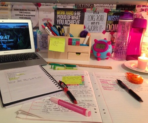 desk, notes, and organization image