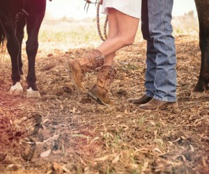 country, couple, and horse image