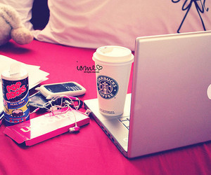 starbucks, apple, and pink image