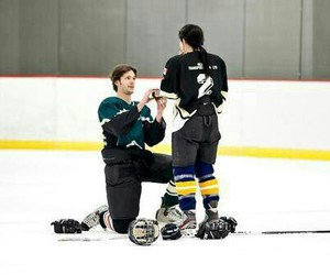 couple, hockey, and love image