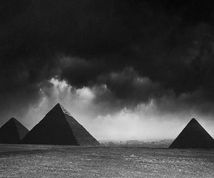 black and white and pyramid image